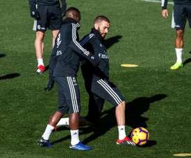 Karim Benzema and Vinicius Junior in training. EFE