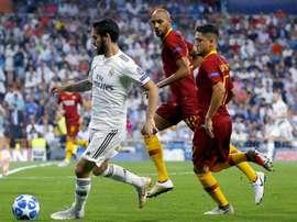 Na primeira partida o Real não tomou conhecimento da Roma no Bernabéu. EFE/Archivo