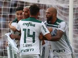 Deyverson anotó el gol que le dio el campeonato a Palmeiras. EFE