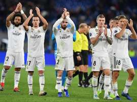 Real Madrid players celebrate their win against Roma. EFE