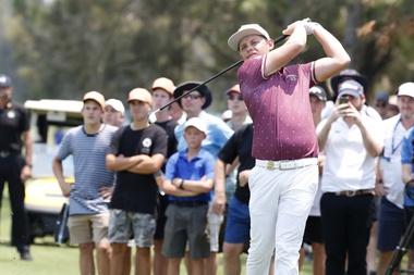 El golfista Cameron Smith, durante la prueba de ayer en Gold Coast, Australia. EFE