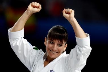 La karateca española Sandra Sánchez, tras la prueba de Kata femenina en la que ha obtenido medalla de Oro y se ha proclamado Campeona del Mundo, en el Campeonato del Mundo de Kárate que se disputa en el Wizink Center de Madrid. EFE