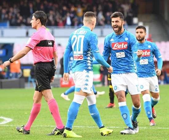 Goleada del Nápoles ante el flojo Frosinone. EFE