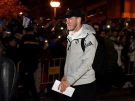 Bale, en la llegada del Madrid a Huesca. EFE