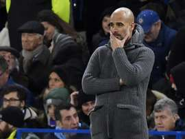 Guardiola pictured during Manchester City's defeat to Chelsea. EFE