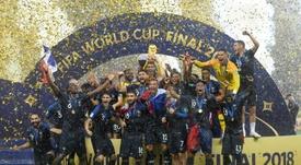 Les Bleus ont reçu leur bague de champion du monde. AFP