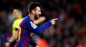 Messi marcó su gol número 18. EFE