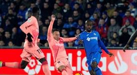 El Barça se llevó los tres puntos del Coliseum. EFE