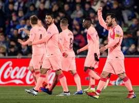 Messi celebra l'1-0. AFP