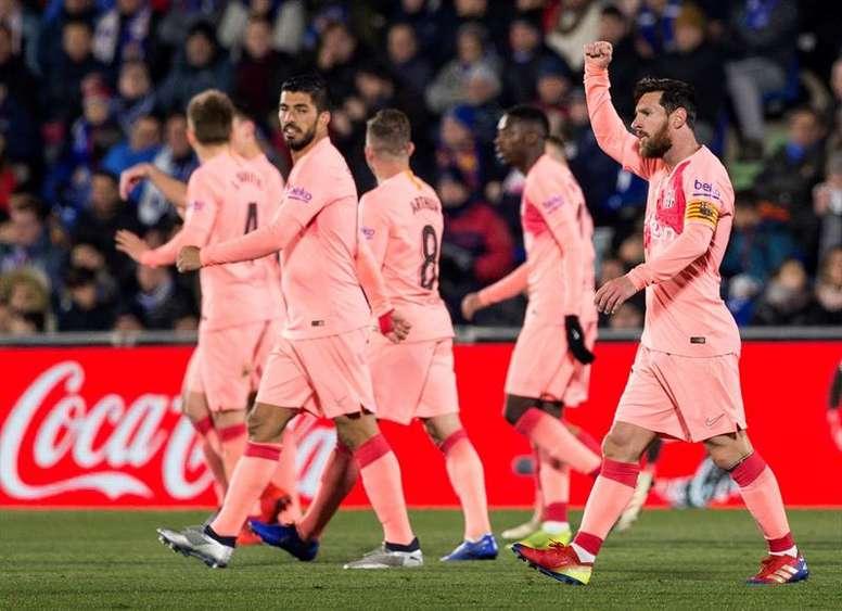 O Barça ganha do Getafe. EFE