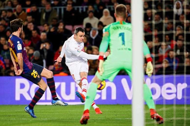 Le gardien du Barça a atteint les 100 matches. EFE