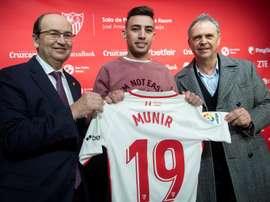 Munir fue presentado con el Sevilla. EFE
