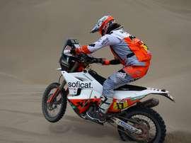 La piloto española Laia Sanz (KTM) corre la sexta etapa del Rally Dakar 2019 entre Arequipa y San Juan de Marcona (Perú). EFE