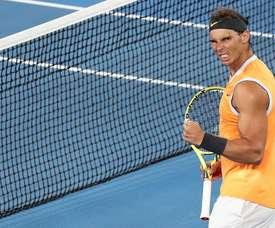El tenista español Rafael Nadal celebra tras imponerse al estadounidense Frances Tiafoe en su partido de cuartos de final del Abierto de Australia de tenis disputado este martes en Melbourne. EFE