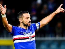 Quagliarella celebrates his 165th goal in Serie A. EFE