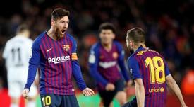 Jordi Alba e Messi um dupla entrosada. EFE