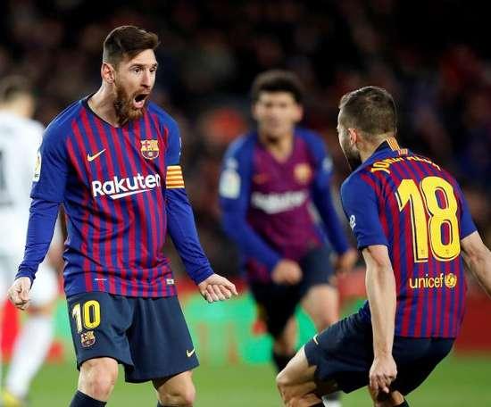 Jordi Alba deixou vários elogios a Leo Messi. EFE