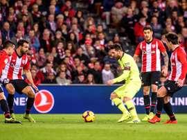 Messi couldn't break down a stubborn Bilbao defence. EFE