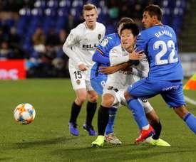Kang-In Lee a marqué son premier but avec Valence. EFE