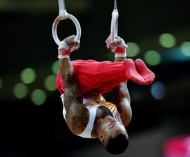 Rayderley Zapata de España compite en la clasificación de anillos masculino en el Campeonato Mundial de Gimnasia Artística 2018, en Doha (Catar), el pasado mes de octubre. EFE/Archivo