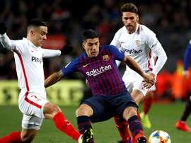 El Sevilla pone a prueba la falta de gol del Barcelona. EFE