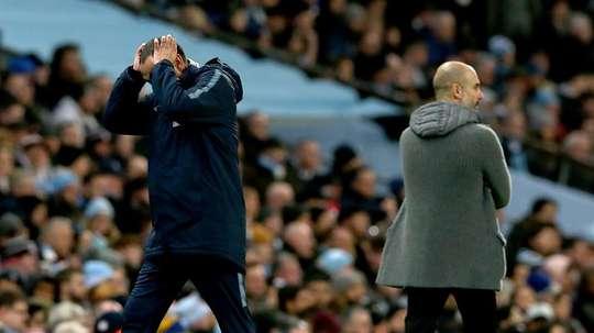 Pep Guardiola et Maurizio Sarri se retrouveront demain à Wembley. EFE