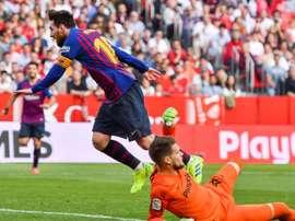 Messi fue el protagonista absoluto del duelo. EFE