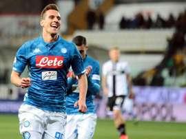 Milik hizo dos de los cuatro goles al Parma. EFE/EPA