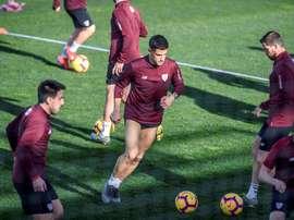 El Athletic preparó el partido contra el Valencia. EFE