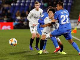Kang-in Lee (2r) could go out on loan to the Eredivisie next season. EFE/Archivo