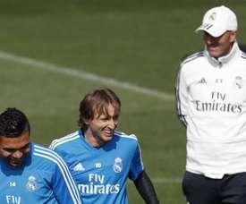 Modric vuelve tras cumplir su partido de sanción por la roja ante el Celta. EFE