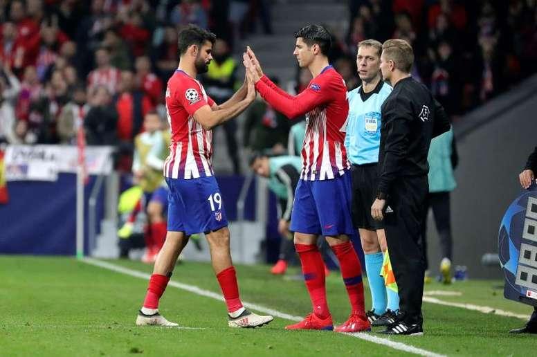 Diego Costa et Morata arrivent à temps au Camp Nou. EFE