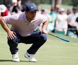 El Italiano Francesco Molinari (Imagen) se ha consolidado como líder en solitario después de la tercera jornada del Masters de Augusta, el primer grande de la temporada. EFE.