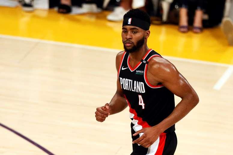 Maurice Harkless de Portland Trail Blazers reacciona durante un juego de la NBA. EFE