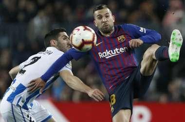 Jordi Alba anotó el gol decisivo en la victoria ante la Real Sociedad. EFE