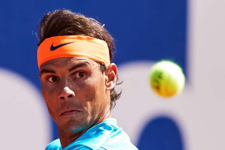 tenista español Rafael Nadal durante el partido de segunda ronda del Barcelona Open Banc Sabadell-Trofeo Conde de Godó que ha disputado contra el argentino Leonardo Mayer. EFE