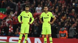 Los señalados del Barça en Anfield. EFE