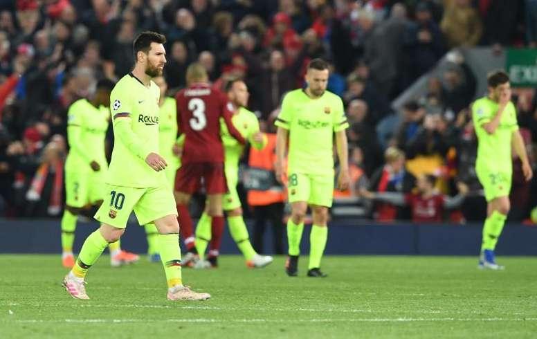 Messi tuvo que pasar por el antidoping en Anfield. EFE