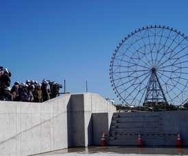 Periodistas y medios de comunicación en una visita, el pasado mes de febrero, a  las instalaciones de los Juegos Olimpicos de 2020 en Tokio (Japón). EFE/Archivo