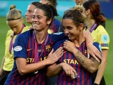 Las jugadoras del Barça, orgullosas pese a la derrota. EFE/EPA