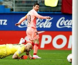 Messi's brace saw Barcelona level with Eibar on final week of LaLiga. EFE