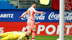 Messi's brace saw Barcelona level with Eibar on final week of LaLiga. EFE