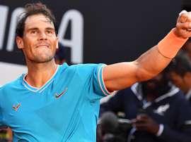 El tenista español Rafael Nadal celebra su victoria en Roma. EFE/EPA