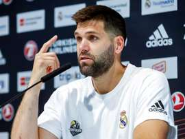 El capitán del Real Madrid, Felipe Reyes, durante la rueda de prensa. EFE/Archivo