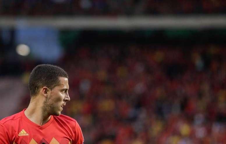 Roberto Martínez ensalzó la figura de Hazard. AFP