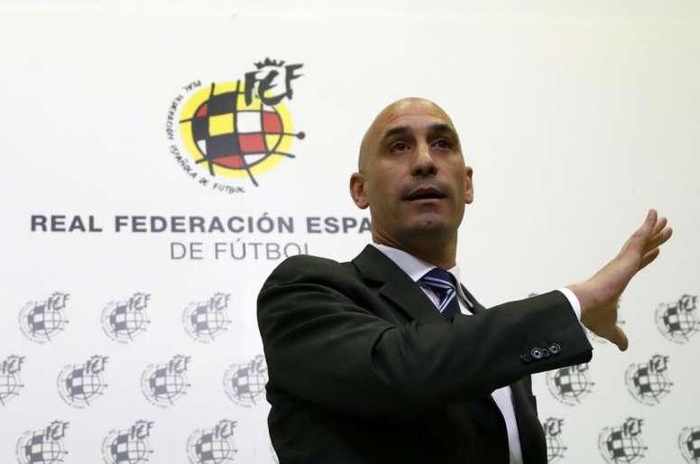 Rubiales animó a los integrantes de la Sub 21. EFE