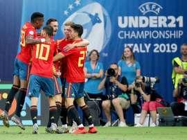 Jogadores da seleção espanhola sub-21. EFE/Alessio Marini