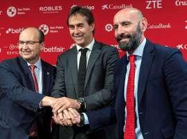 El presidente del Sevilla se deshizo en elogios hacia Lopetegui. EFE