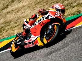 El español Marc Márquez (Repsol Honda RC 213 V) saldrá desde el primer puesto en Alemania. EFE/EPA/FILIP SINGER