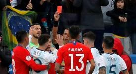 Le rapport de l'arbitre révèle le motif de l'expulsion de Messi. EFE